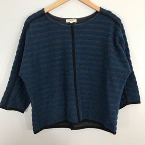 Madewell Striped zip Back Pullover- Size Medium
